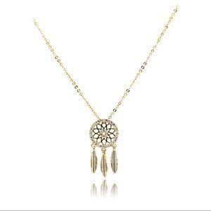 Fashion gold dreamcatcher crystal necklace